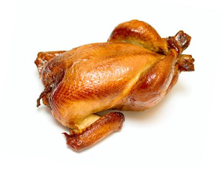 Roast grilled chicken on white background