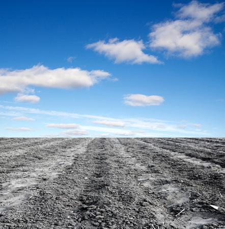 arando: campo arado contra el cielo Foto de archivo