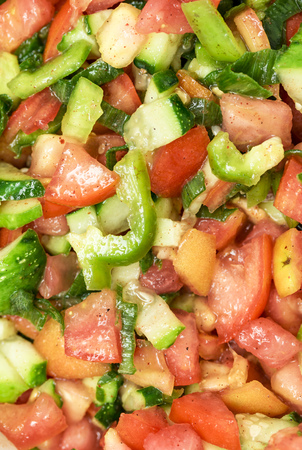 an onions: healthy eating, dieting, vegetarian kitchen - close up of vegetable salad. Foto de archivo