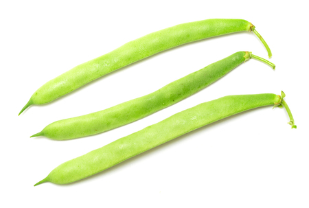 haricot: pods of green beans on white background