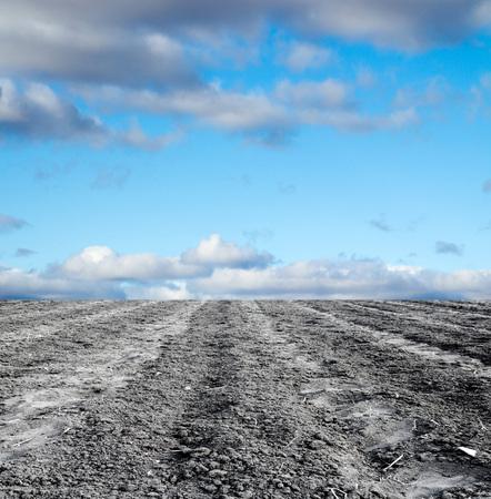 siembra: campo arado contra el cielo Foto de archivo