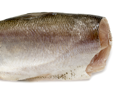 salmon fishery: fish without head on white background