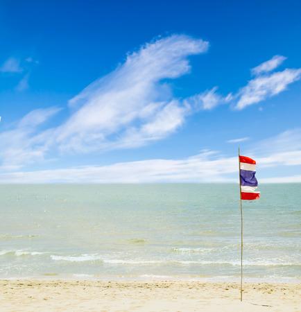 Thailand beach, sea sand sky, flag