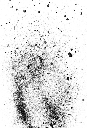 desaturated colors: Black powder isolated on white background