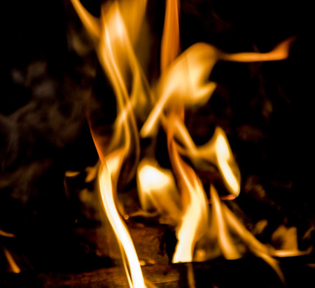 flammable: flame of fire, bright background Stock Photo