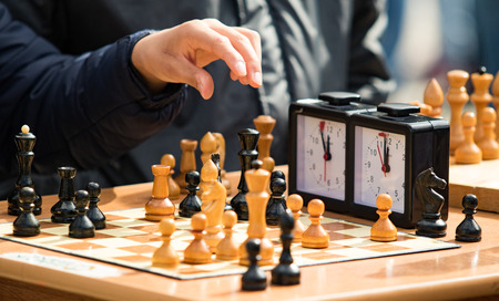 chess game in the streets close-up Stock Photo