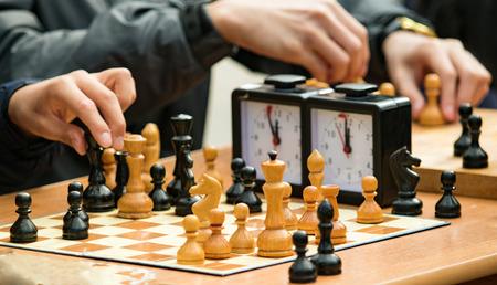 schaakspel in de straten close-up