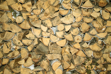 stacked: birch firewood stacked background Stock Photo