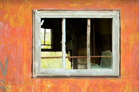 without window: old broken window without glass