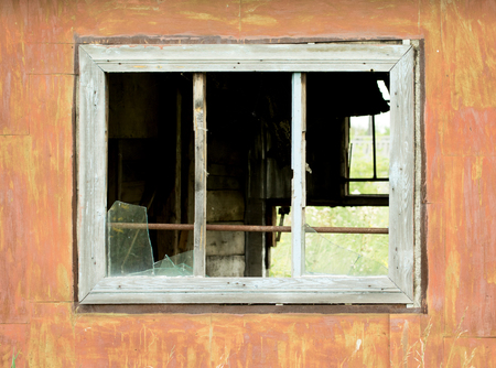 without windows: old broken window without glass