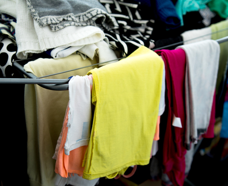 pile of old clothing items Stock Photo