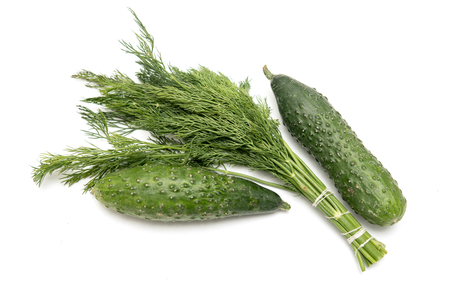 cucumber dill green parsley on a white background Stock Photo