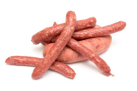 smoked sausage: Smoked sausage on a white background