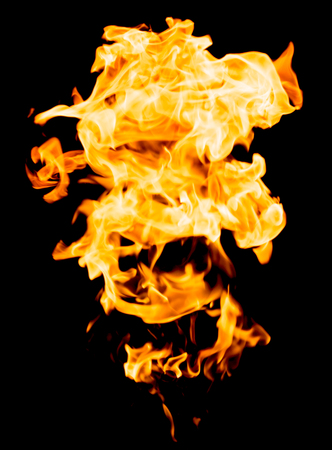 abstract fire: red yellow flames on black background Stock Photo