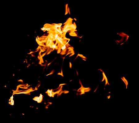 red yellow flames on black background Stock Photo