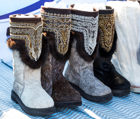 boots from  deer skins