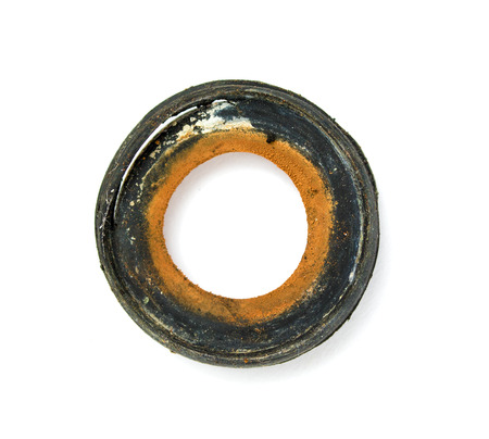 gasket: rubber gaskets old on a white background Stock Photo