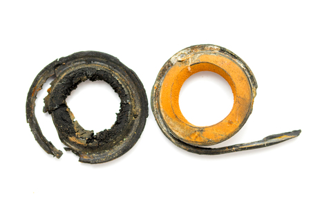 rubber gaskets old on a white background Stock Photo