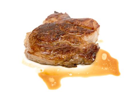 fried steak isolated on white background