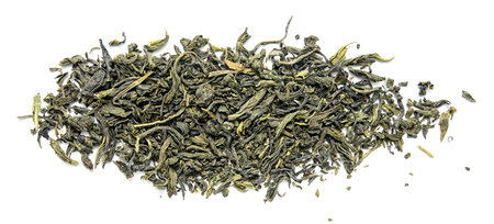 dry leaf green tea on a white background Stock Photo