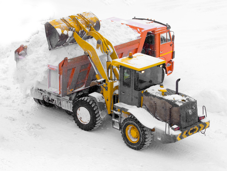 heavy snow: Winter landscape, snow cleaning machine Stock Photo