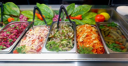 Table with salads all-inclusive