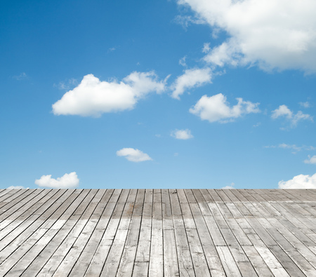 wood texture: wooden floor against the sky with clouds