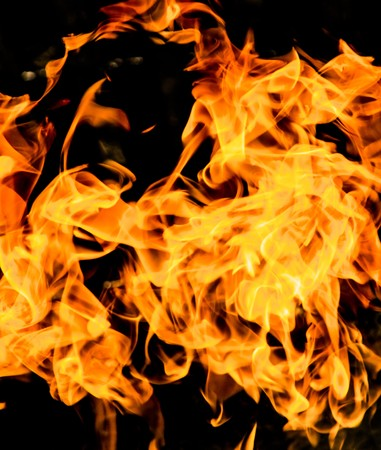 Fire flames on a black background Stock Photo
