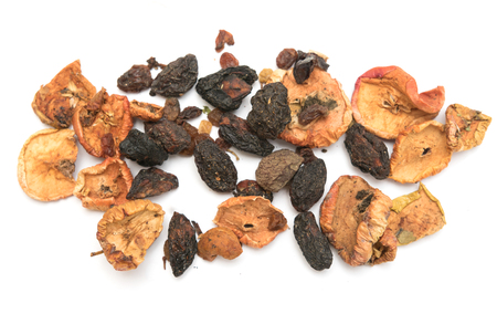Dried fruits for compote isolated on white background