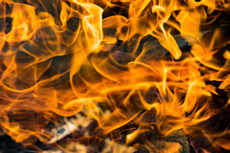 Flame of fire on a black background Stock Photo
