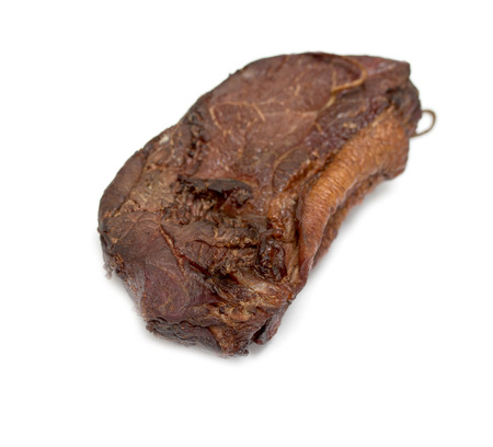horseflesh: Smoked meat of horse meat on white background