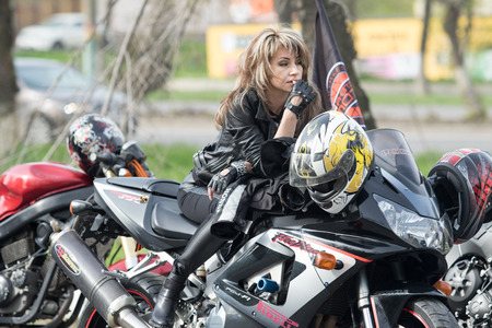 Shymkent, KAZAKHSTAN - March 15, 2017: Motorcycles at the opening of the biker season in Shymkent on March 15, 2017. People & Motorcycles Editorial