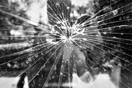Broken mirror old glass