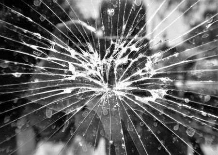 Broken mirror old glass