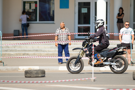 Petropavlovsk, KAZAKHSTAN - July 29, 2017: Motorcycle on the asphalt, the holiday of bikers. People & Motorcycles