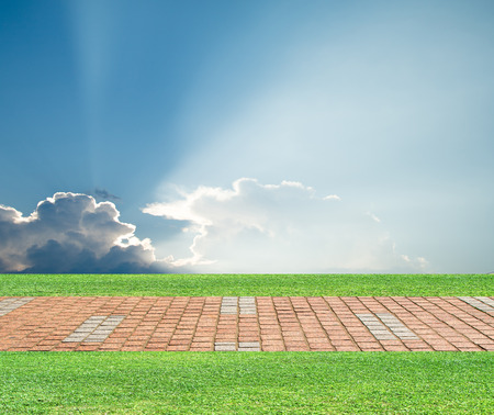 pavers: grass pavers sky clouds