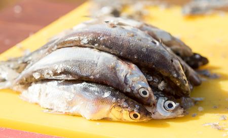 Fresh, cleaned fish, sliced Stock fotó