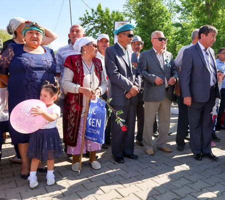 regiment: Shymkent, Kazakhstan, - May 9, 2017: Mass folk festivities in the park. Victory of the Red Army and the Soviet people in the Great Patriotic War of 1941-1945. Editorial