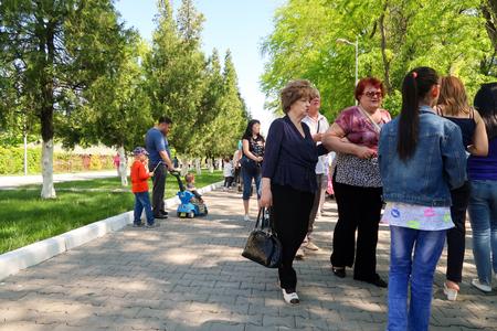 regiment: Mass folk festivities in the park. Editorial