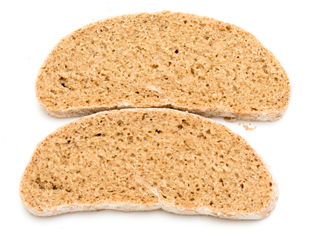 whole wheat toast: A piece of bread on a white background