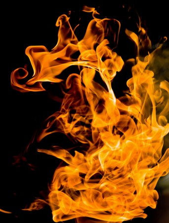 igniting: Fire flames on a black background Stock Photo
