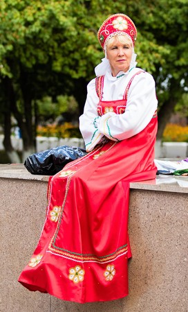 Petropavlovsk, Kazakhstan - August 30, 2017: Kazakhstan marks Constitution Day. People in national costumes, holiday festivities. Editorial