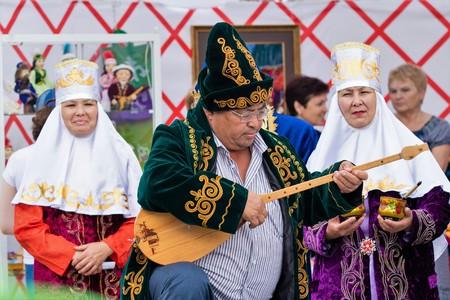 Petropavlovsk, Kazakhstan - August 30, 2017: Kazakhstan marks Constitution Day. People in national costumes, holiday festivities. Editorial
