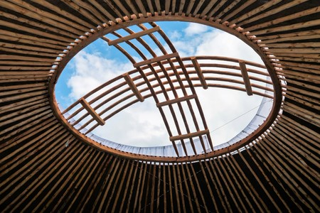 Kazakh shanyrak, the roof of the yurt the hole in the sky Stock Photo