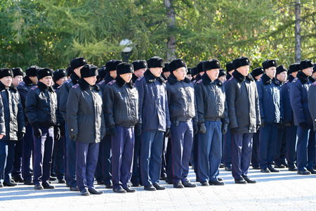 PETROPAVLOVSK October 07, 2017: Construction review of personnel of the Department of Internal Affairs of Petropavlovsk. Check soldiers readiness for service in all weather conditions.