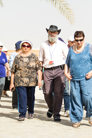 JERICHO, ISRAEL - NOVEMBER 14. 2017: Pilgrims and tourists on Jordan River in Qasr el Yahud. Editorial
