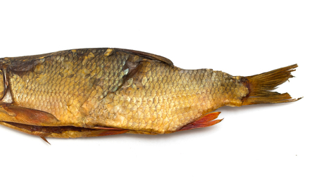 fish smoked on a white background Banco de Imagens