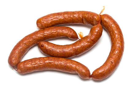 smoked sausages on a white background