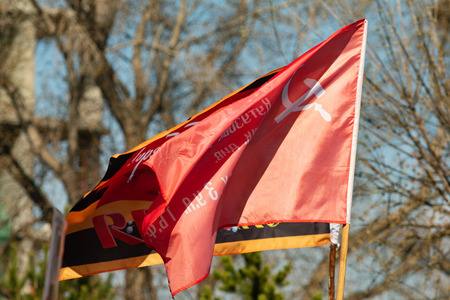 red banner of the Soviet Union sickle and hammer