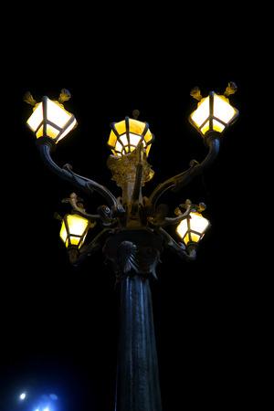 decorative lamp in the street at night 免版税图像